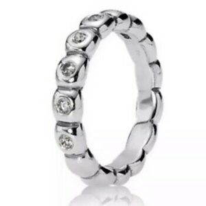 Silver & clear cubic stones Pandora Stacking Ring